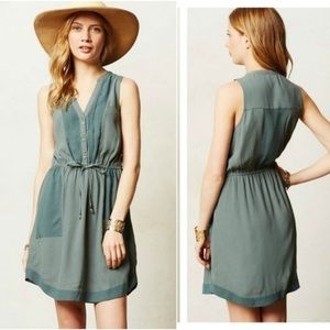 Maeve Moss Green Sleeveless Pelona Shirt Dress